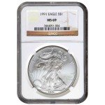 1991 American Silver Eagle NGC MS69