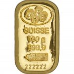 100 Gram PAMP Suisse Gold Bar (Cast w/ Assay, New)
